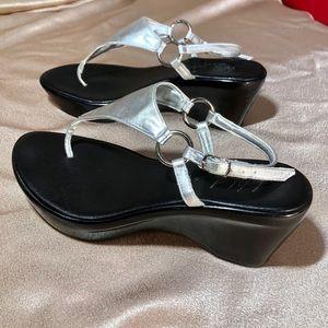 WILD PAIR Italy metallic silver leather sandals 9
